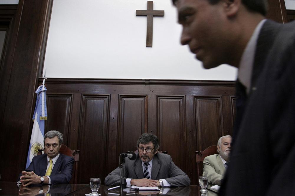 El tribunal, momentos previos a que se leyeran las absoluciones a los trece imputados por la desaparición de Marita Verón.