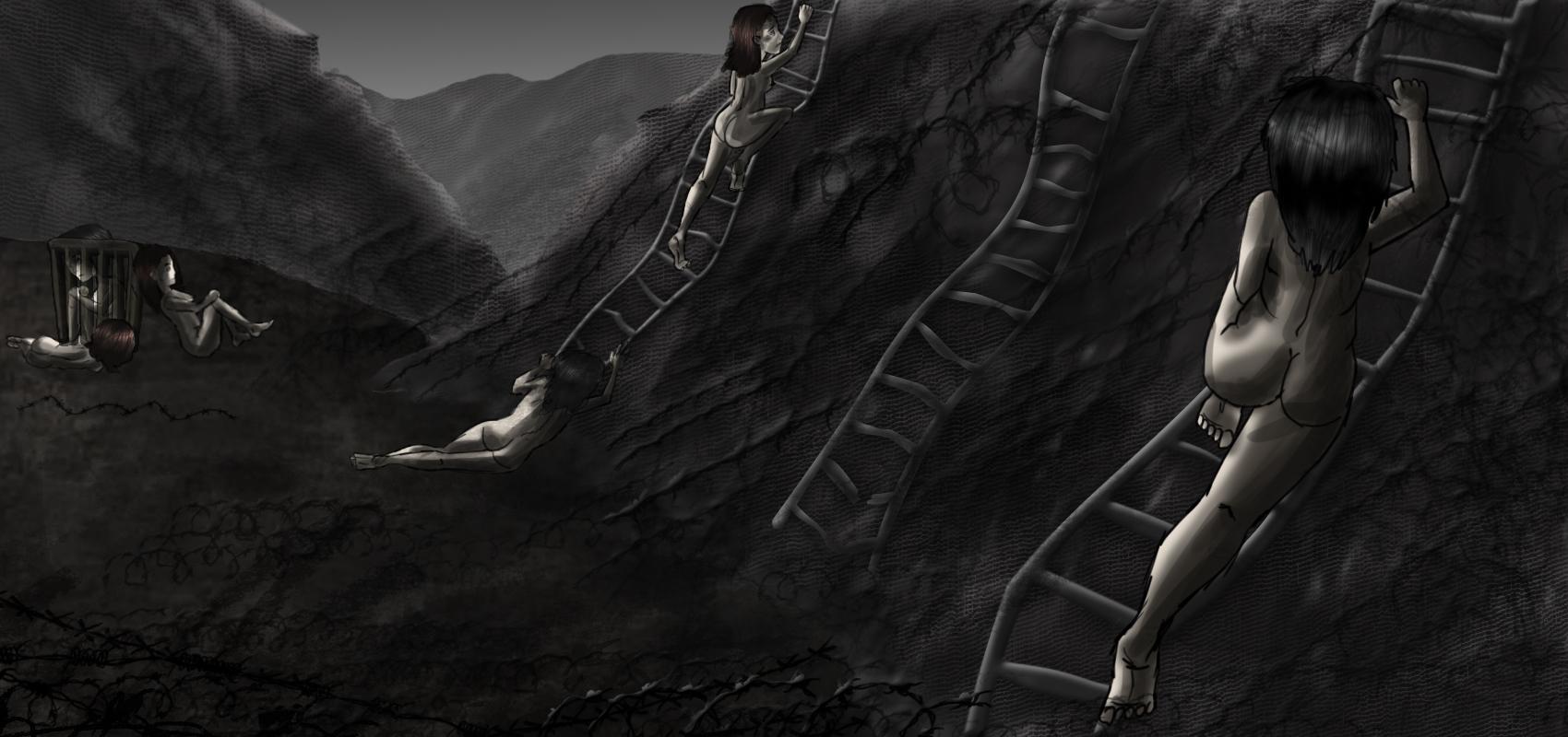 """""""Huir, escalar, caer"""" / Ilustración: Gaby Futch"""