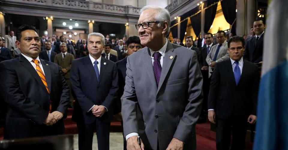 Alejandro Maldonado Aguirre en el Congreso de la República el día en que fue juramentado como Vicepresidente de Guatemala.