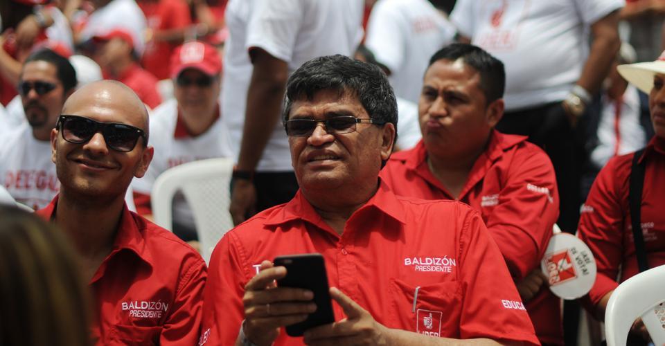 Arnoldo Medrano durante la asamblea del partido Lider donde fue proclamado Manuel Baldizón como candidato presidencial.