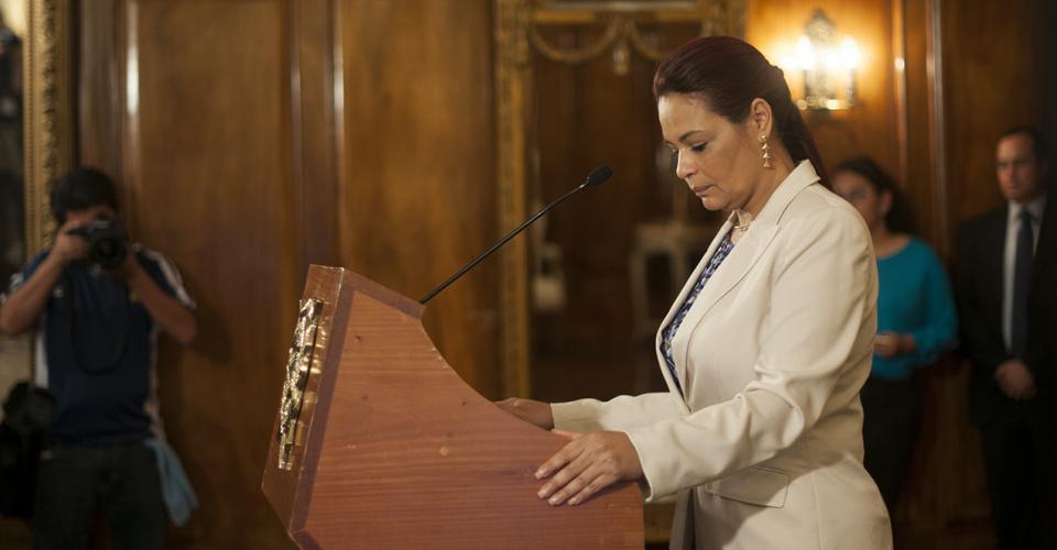 Roxana Baldetti en la última conferencia de prensa que ofreció luego de su regreso de Corea del Sur.