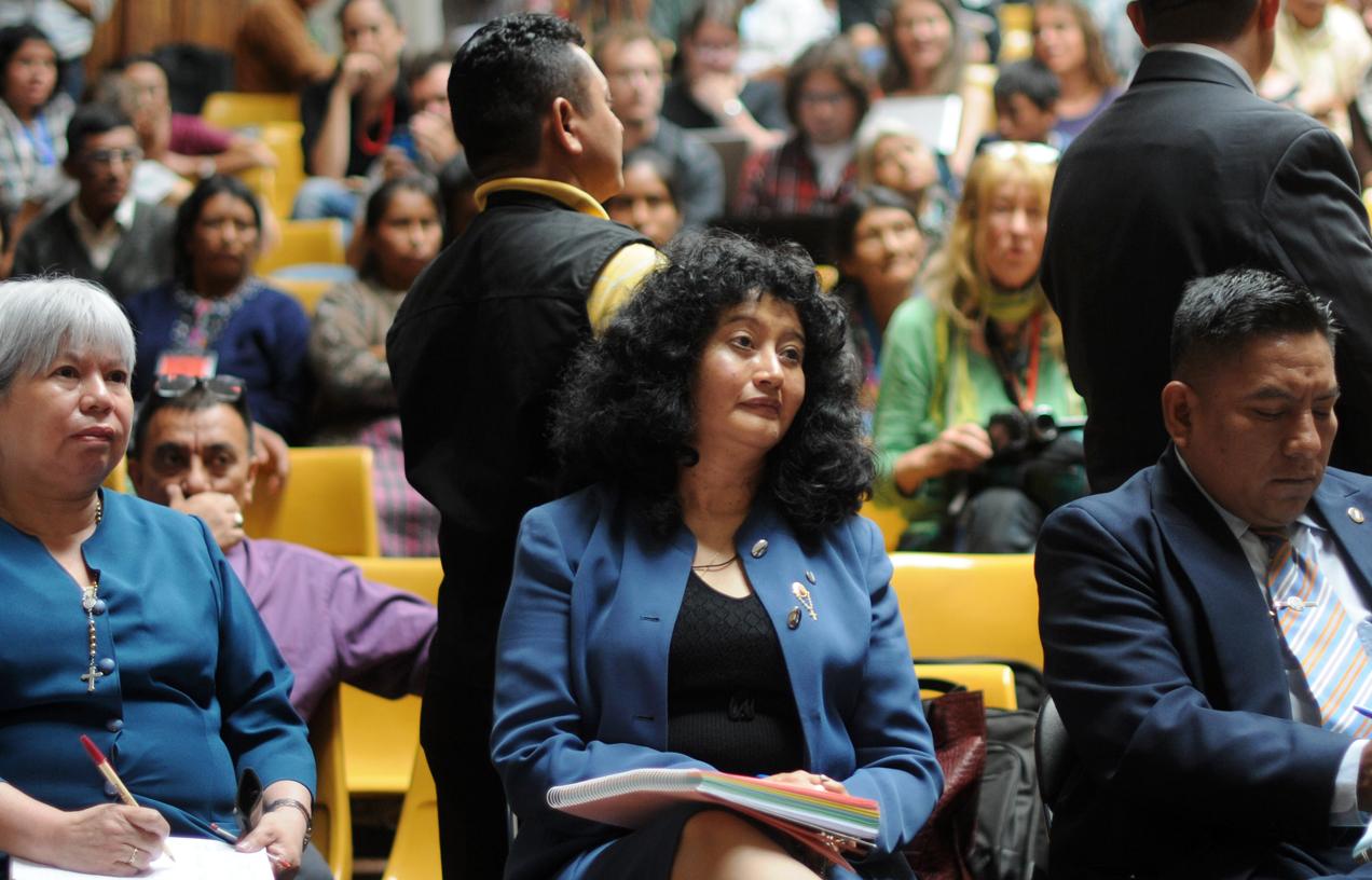 Yassmín Barrios en la sala de vistas de la Corte Suprema de Justicia en uno de los días del juicio.