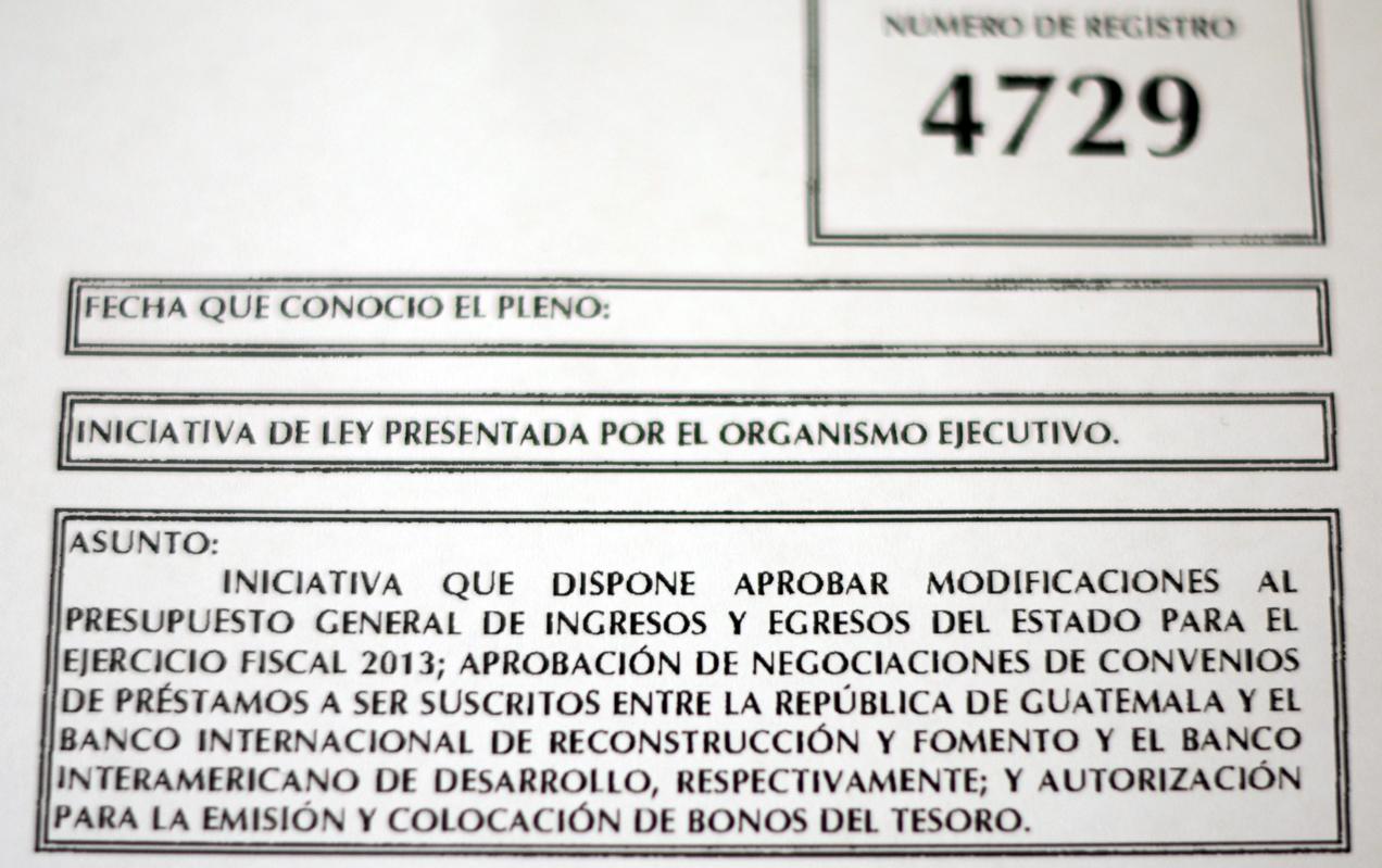 La carátula de la iniciativa de Ley.