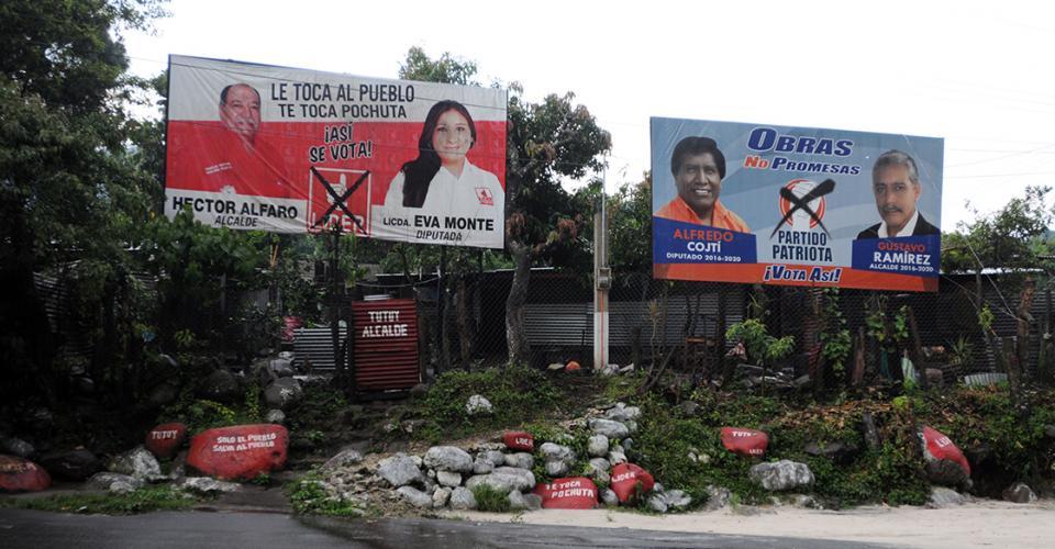 Héctor Alfaro, candidato del partido Libertad Democrática Renovada (Lider) y Gustavo Ramírez, representante del Partido Patriota (PP), buscan ocupar el despacho municipal del municipio. El ambiente electoral se ve en varias calles de San Miguel Pochuta pese a los conflictos.