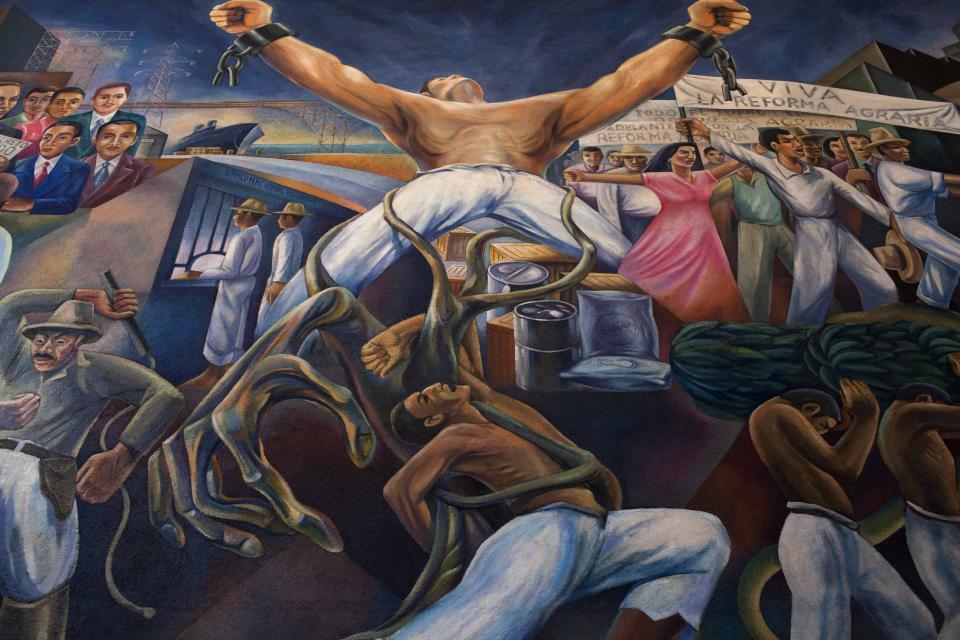 Detalle del mural ubicado en el Salón del Pueblo del Congreso de la República.