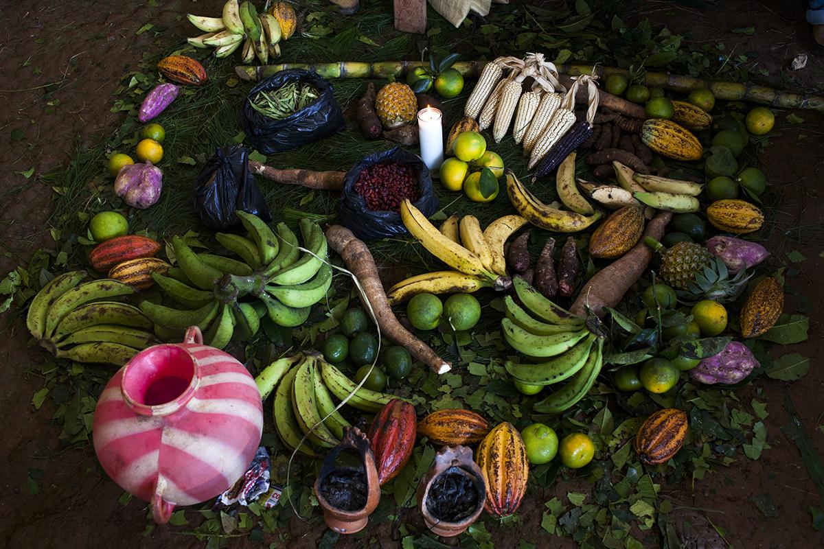 Bajo el techo del salón comunal de la aldea, frente a la mesa donde los comunitarios firmarán el acta, frutas y verduras típicas de la producción local componen una ofrenda multicolor a propiciar la consulta comunitaria