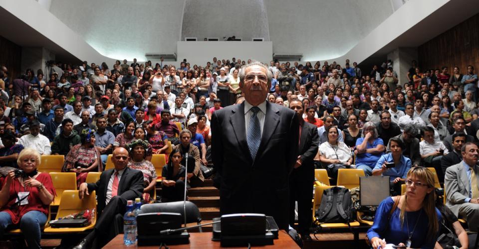 El general retirado el día en que declaró. Después de 30 años se pronunció sobre el conflicto armado en Guatemala.