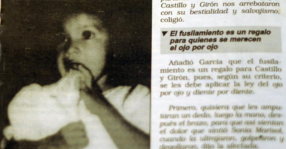 La niña Sonia Marisol, violada por Roberto Girón y Pedro Castillo, fusilados el 14 de septiembre de 1996.