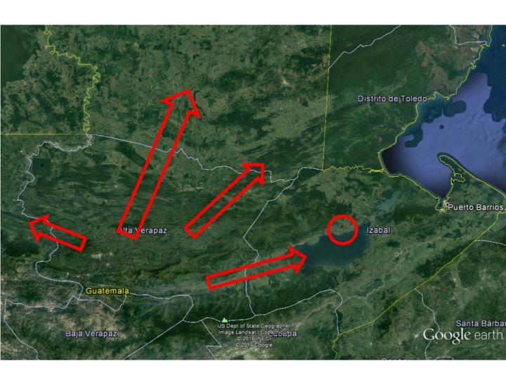 Migraciones q'eqchi' en su región inmediata. Elaboración del autor basado en Google Earth.