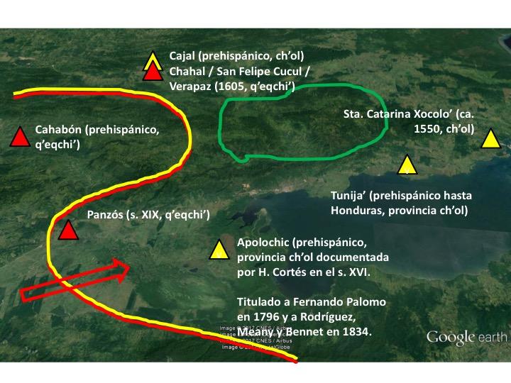 La frontera ch'ol-q'eqchi', fundaciones de pueblos coloniales, provincias prehispánicas y movimientos de población, siglos XVI-XIX. Elaboración del autor basado en Google Earth.
