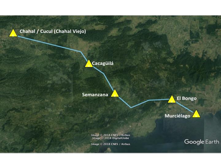 Rutas entre las orillas del lago de Izabal y Chahal / Cucul atravesando la sierra Santa Cruz. Elaboración del autor basado en Google Earth.