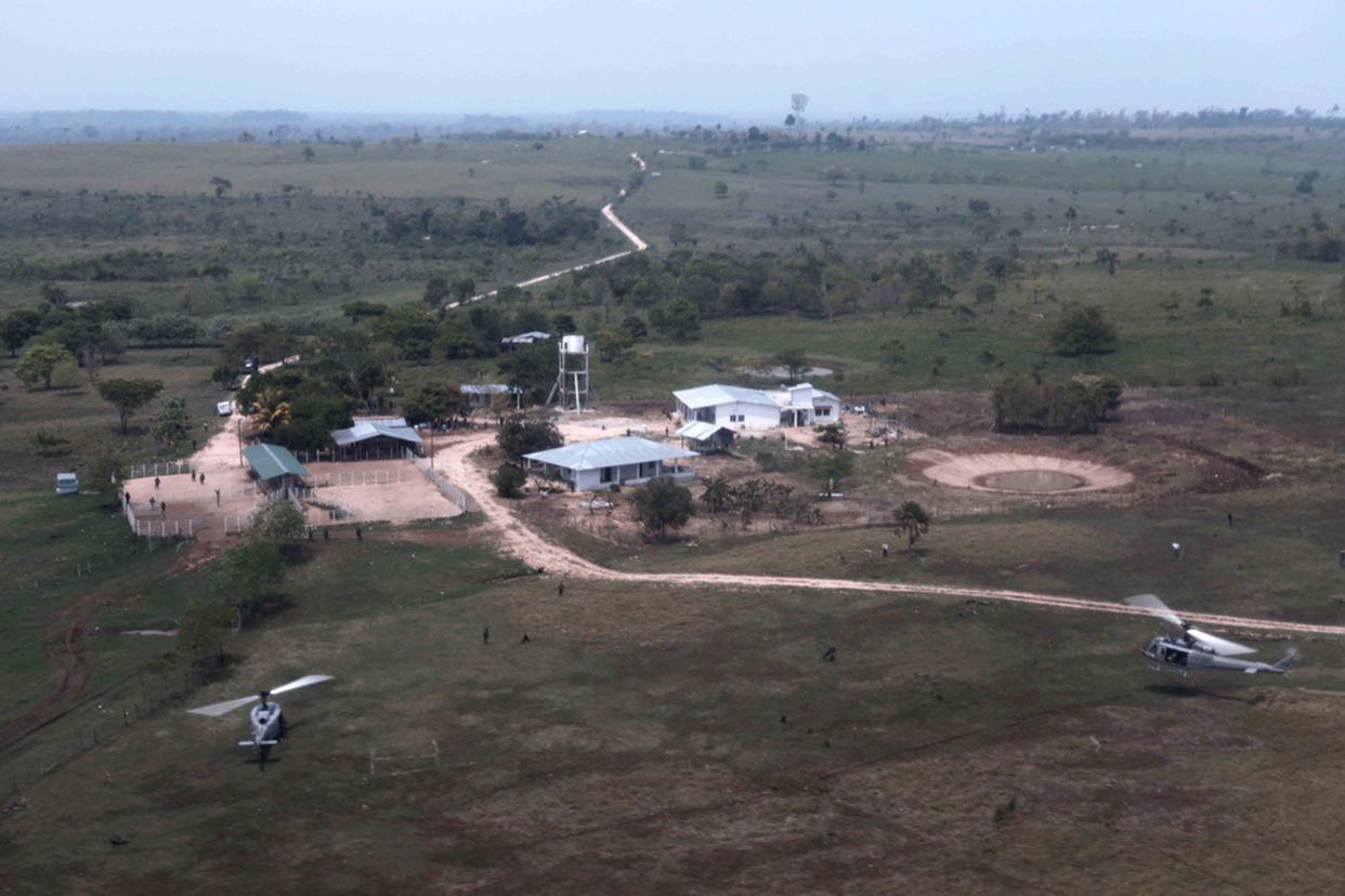 Vista aérea de la finca los Cocos, La Libertad, Petén. En ese lugar fueron masacrados 27 trabajadores por supuestos narcotraficantes zetas.