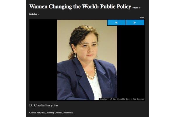La fiscal general de Guatemala es una de las cinco mujeres poderosas de la política pública, según la Revista Forbes. Paz y Paz tiene sus propios aliados poderosos, entre ellos el gobierno de Estados Unidos y miembros de la Unión Europea.