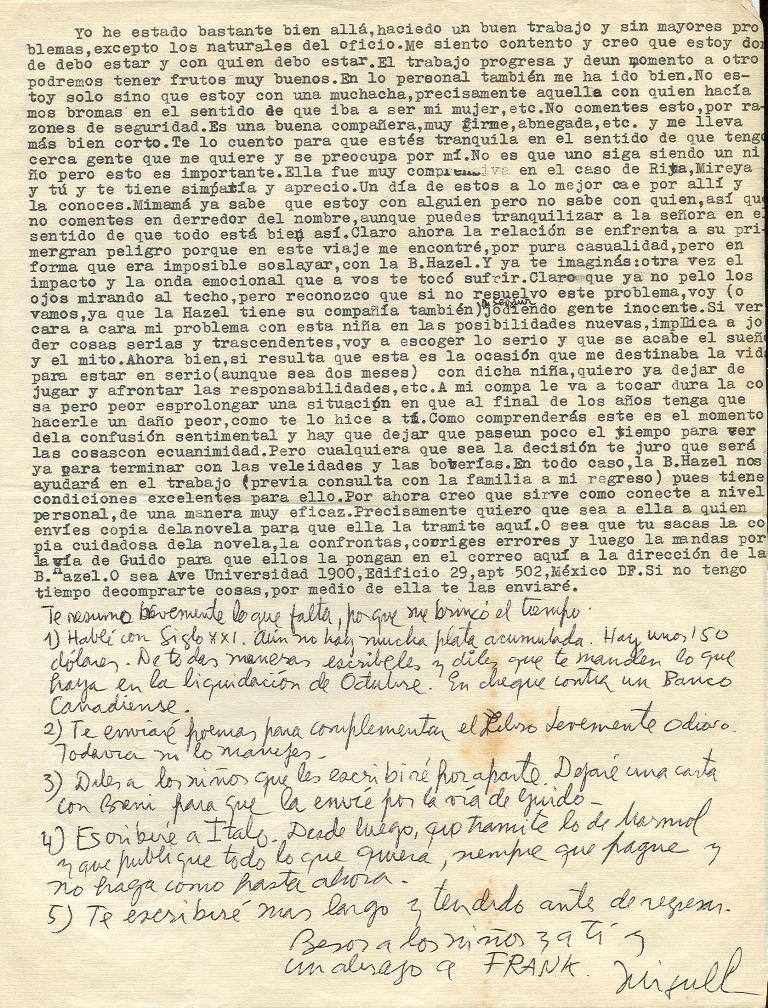 Segunda página de la carta de Miguel a Ana, enviada desde México del 18 de septiembre de 1974.