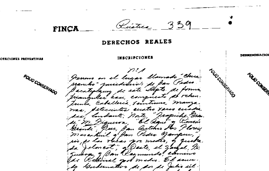Decreto Presidencial de 1897 mediante el cual el presidente Reina Barrios solicitaba entregar 81 caballerias a los vecinos de la aldea de Chuarrancho, e inscribirlos en el Registro de la Propiedad.