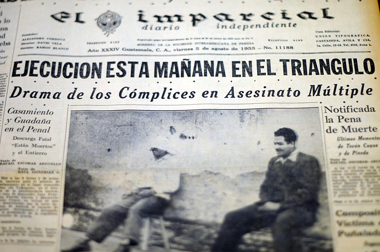 La primera plana del periódico El Imparcial del viernes 5 de agosto de 1955.