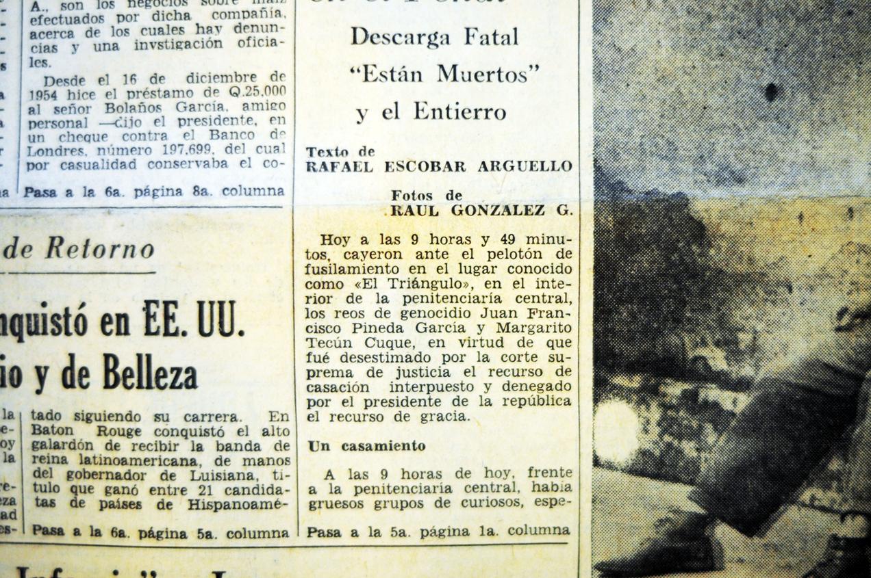 La noticia del día del fusilamiento a los reos de genocidio Juan Francisco Pineda García y Margarito Tecún Cuque.