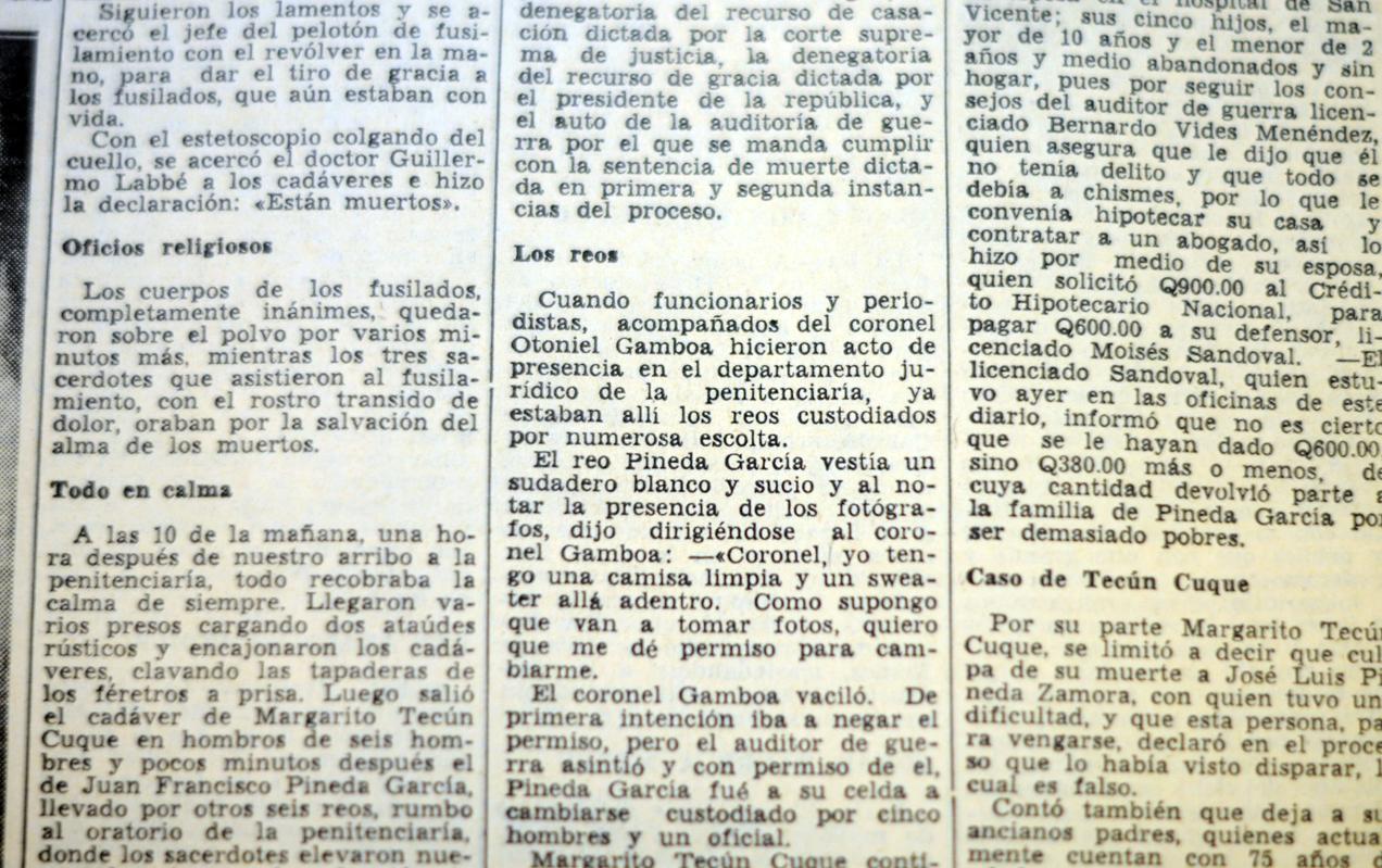 Descripción de los últimos momentos en vida de Juan Francisco Pineda García y Margarito Tecún Cuque.