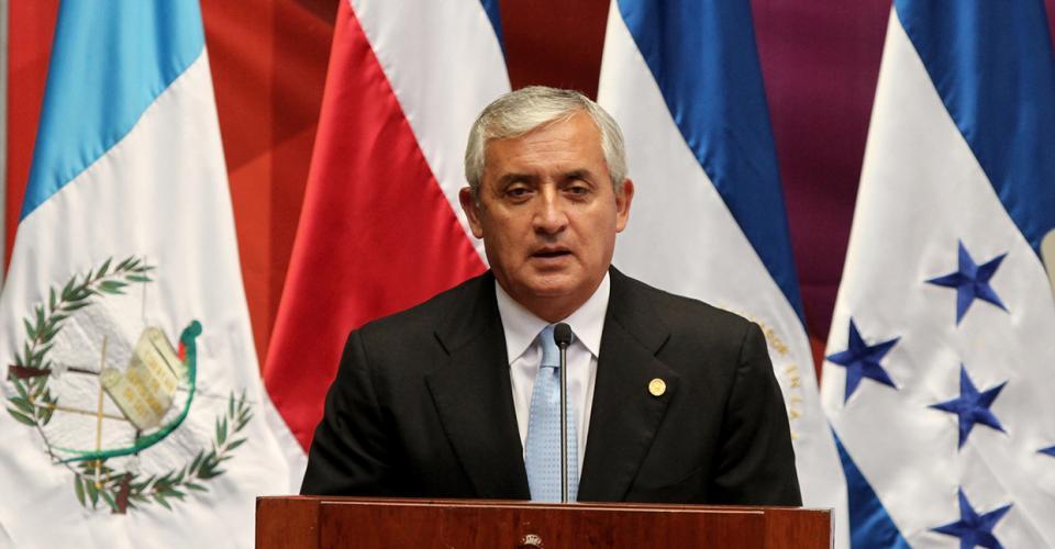 Otto Pérez Molina durante la presentación del primer informe de su gobierno.