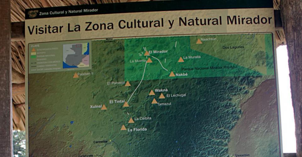 Mapa del recorrido hacia el sitio arqueológico