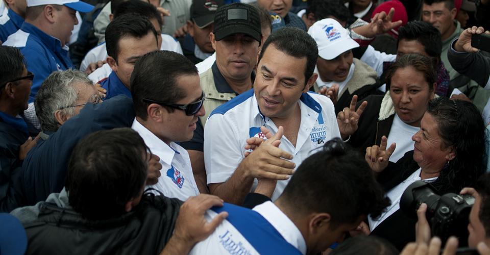 Jimmy Morales durante un mitin en Huehuetenango.