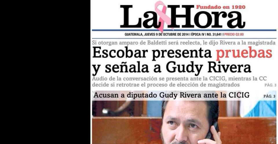 Diario La Hora publicó en su portada que la jueza Claudia Escobar presentó pruebas y señaló a Gudy Rivera.