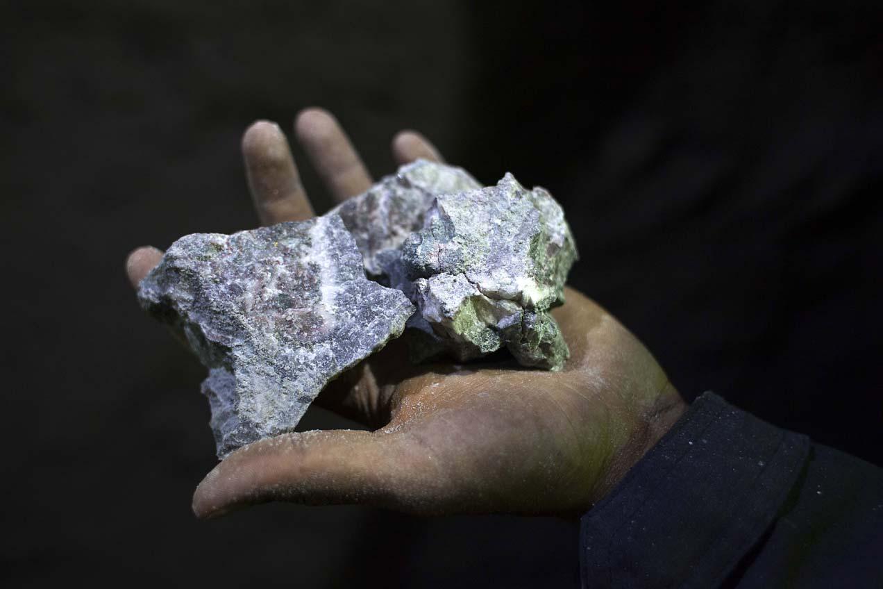Las rocas de la veta son ricas en plata, plomo y zinc.