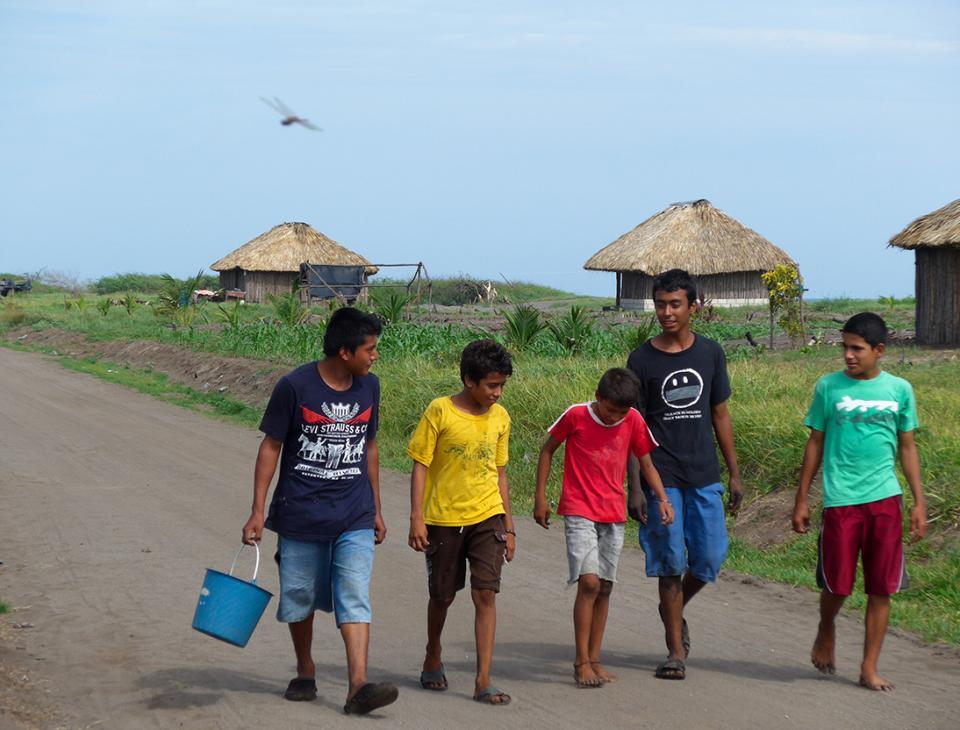 """Víctor y Byron, y sus amigos, regresan a la comunidad, luego de """"cangrejear"""" en los manglares."""