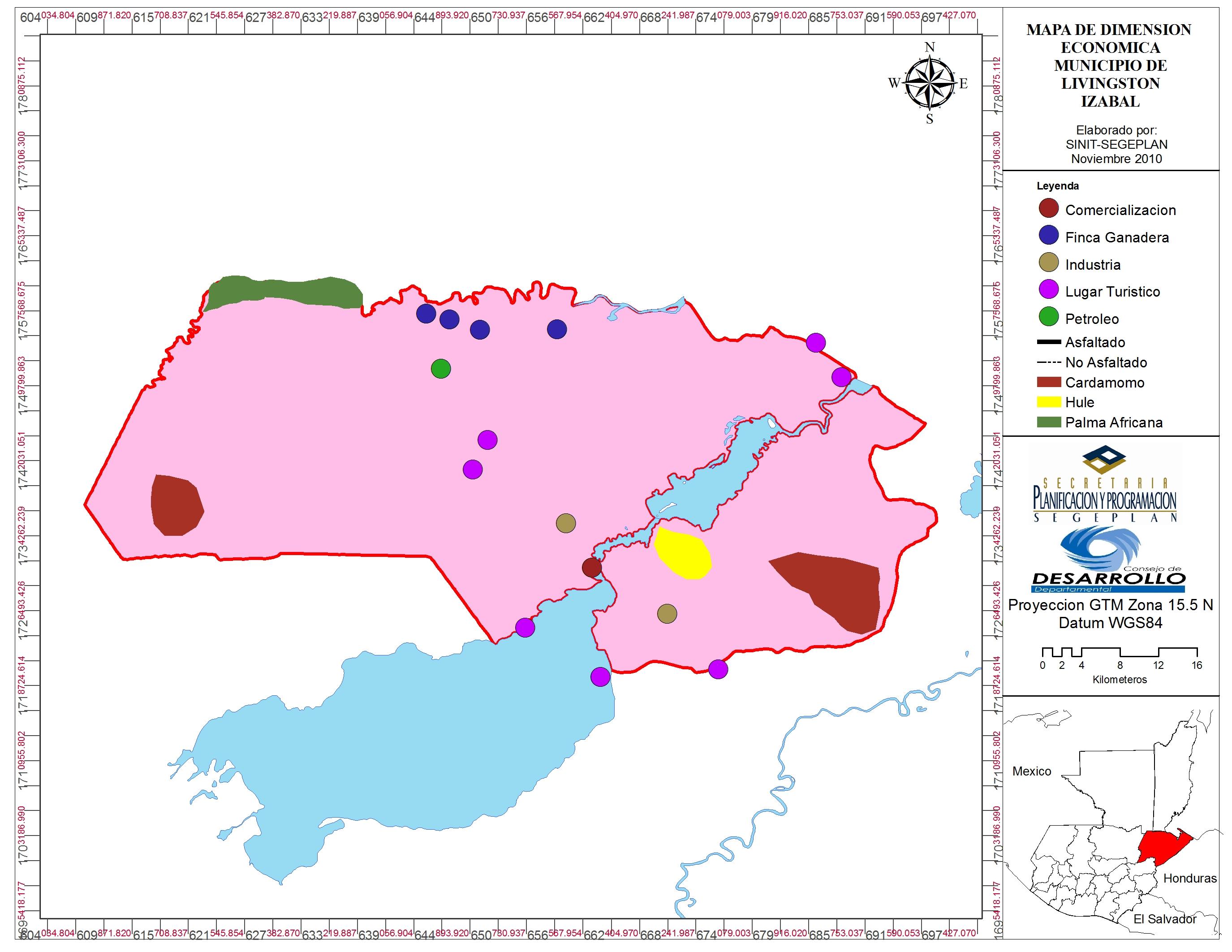 Guatemala: mapa del municipio de Livingston, Izabal, y actividades económicas que se desarrollan actualmente. Fuente: Segeplan
