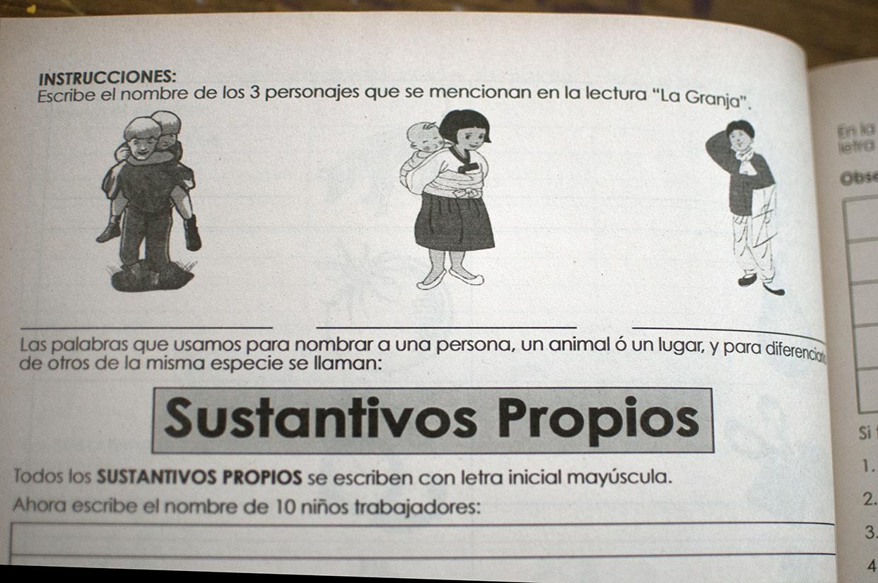 Los libros de texto están adaptados a la realidad de los niños que trabajan en La Terminal.