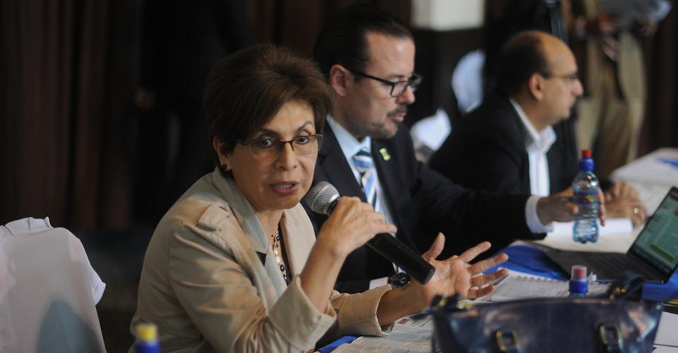 La diputada Nineth Montenegro de la bancada Encuentro por Guatemala durante la reunión con las partes implicadas en el contrato anómalo.