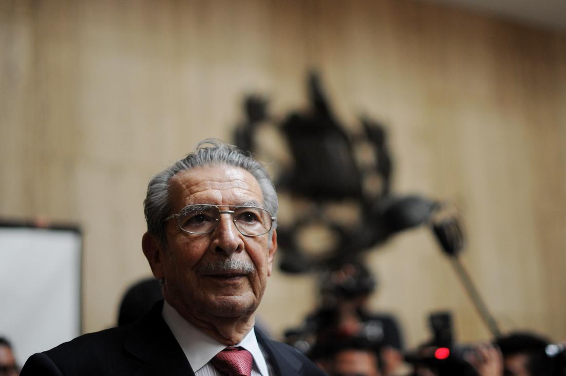 El general retirado, José Efraín Ríos Montt, durante el juicio por genocidio en su contra.