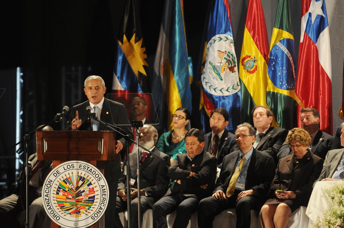 El presidente Otto Pérez Molina durante la inauguración de la 43 edición de la Asamblea General de la OEA llevada a cabo en Antigua Guatemala.