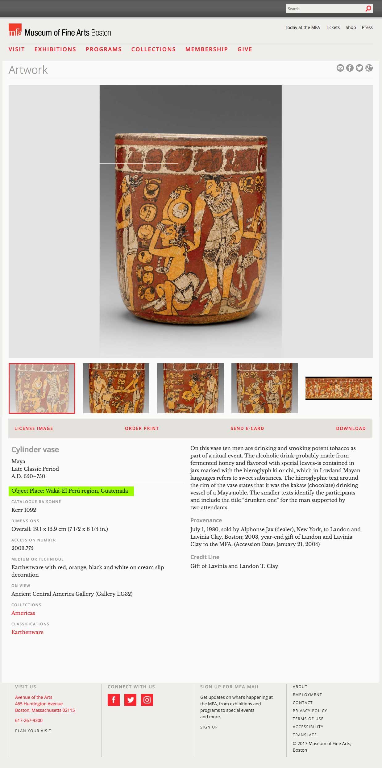 El registro de una pieza donada por Clay al MFA de Boston; no hay registro claro de su origen.
