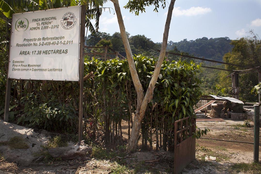 """Entrada de la finca municipal """"El Peñón"""". La maquinaria para procesar el café, al fondo, están abandonadas hace décadas."""