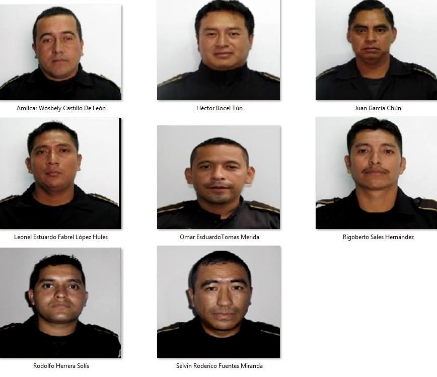 Los ocho agentes de la Policía Nacional Civil asesinados en la sub estación de Salcajá.