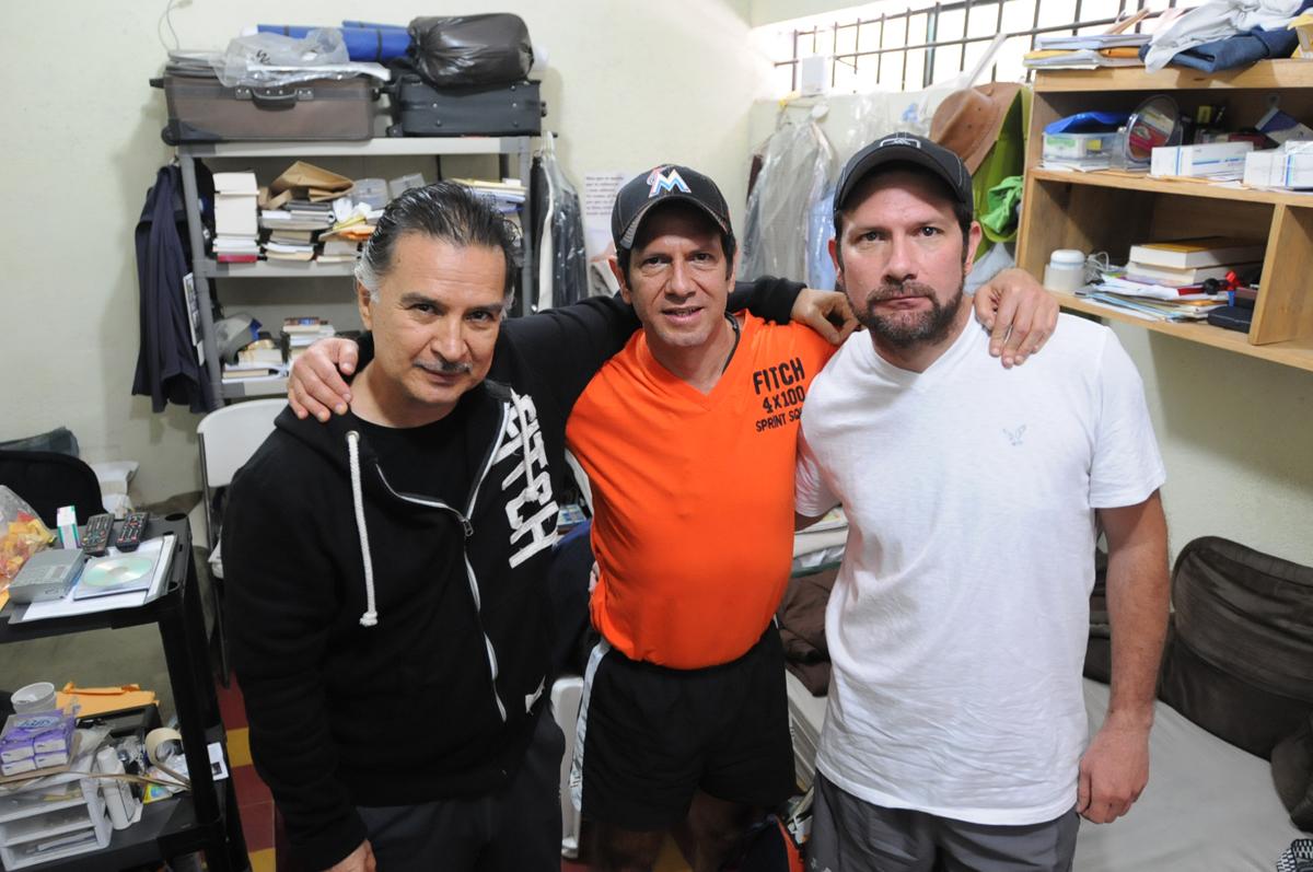 Alfonso Portillo y los hermanos Francisco y Estuardo Valdés Paiz. Los tres amigos. Foto de Sandra Sebastián