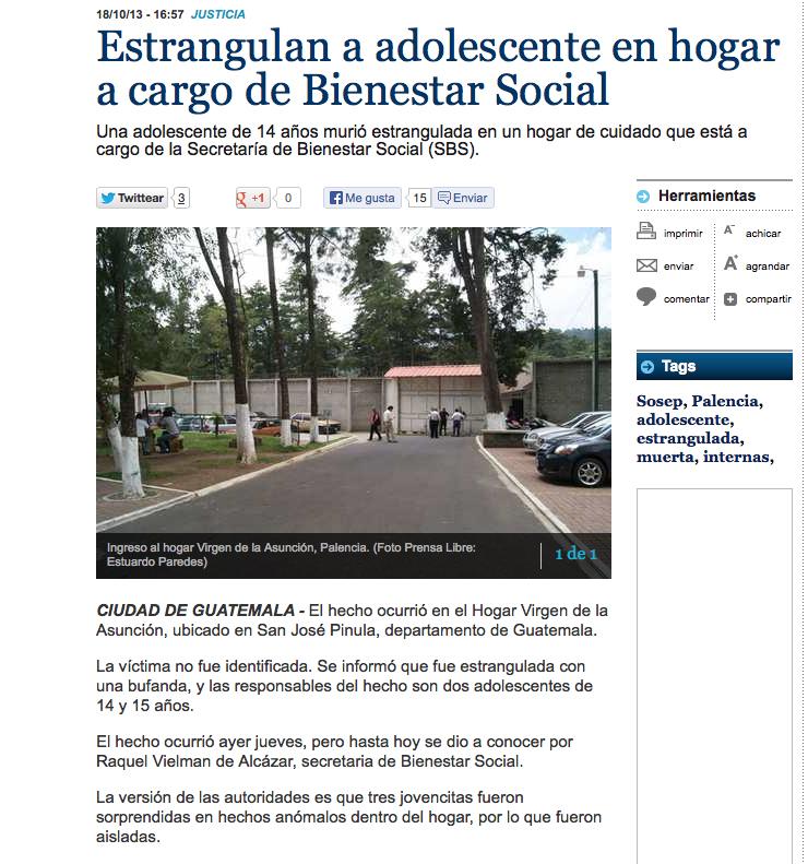 La noticia del estrangulamiento de una adolescente en el hogar a cargo de Bienestar Social, ocurrido el jueves 17 de octubre de 2013.