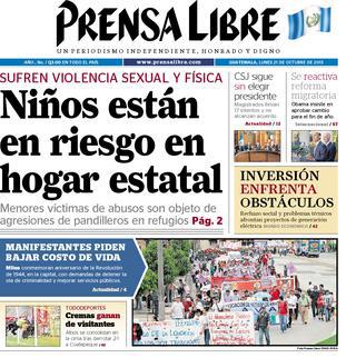 Portada de Prensa Libre del 21 de octubre de 2013, días después de la muerte de adolescente.