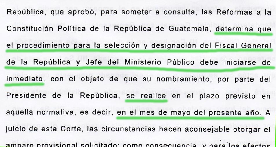 Copia de la resolución de la Corte de Constitucionalidad del amparo provisional a favor de Ricardo Sagastume Morales.