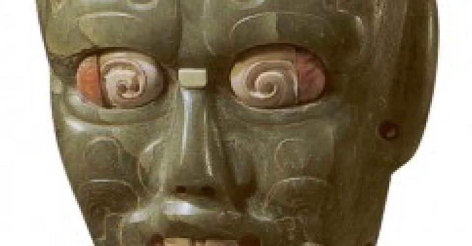 Máscara de Río Azul, en el Museo Barbier Mueller de Barcelona. Fotografía de Trafficking Culture.