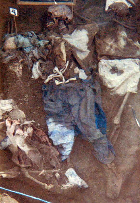 Osamentas de víctimas de la masacre en San Alfonso.