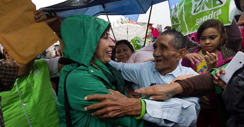 Sandra Torres durante un mitin político en el departamento de Guatemala.