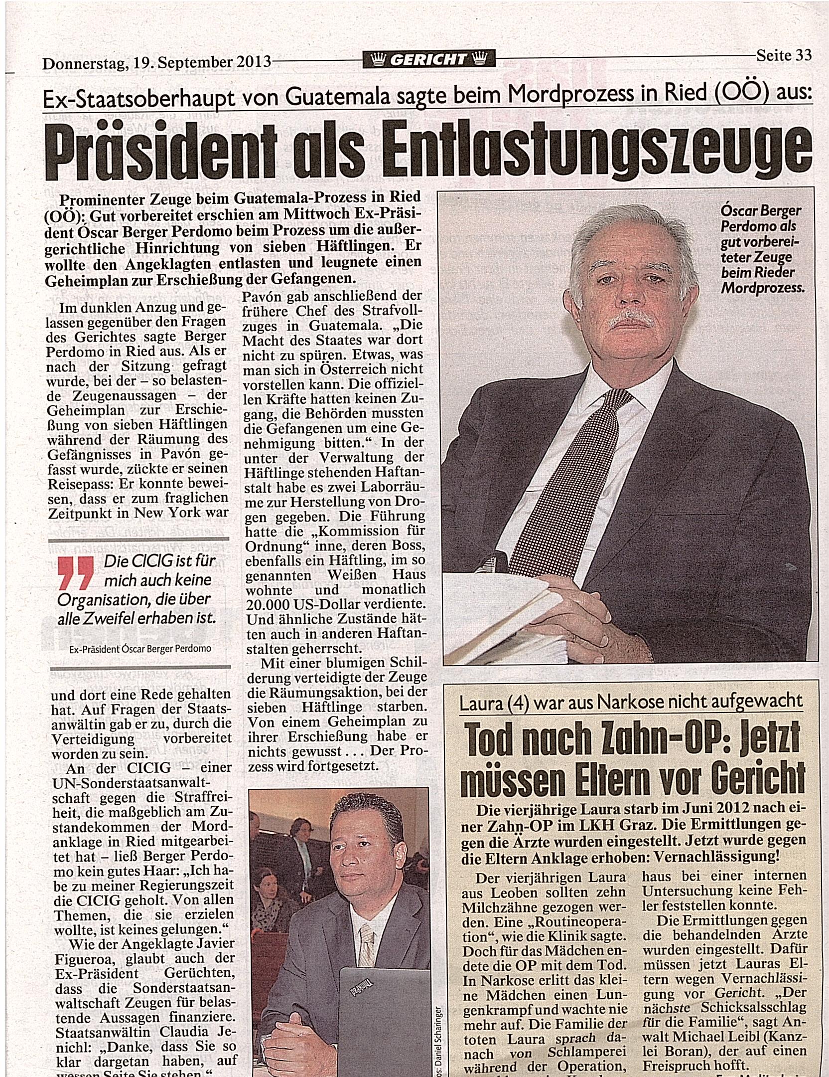 La prensa local dio relevancia a la presencia del expresidente Berger en la Corte.