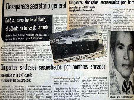 El 21 de junio de 1980 desaparecieron 27 sindicalistas del CNT. Dos meses después, otros 16 desaparecieron en Escuintla.