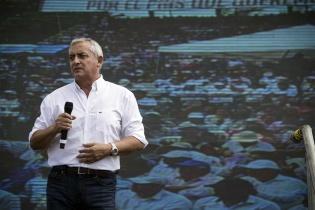 El presidente Otto Pérez Molina durante la presentación de resultados de su segundo año de gobierno.
