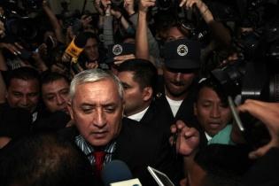Otto Pérez a su llegada a la torre de tribunales, esta mañana
