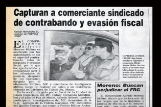 Momento de la captura de Alfredo Moreno Molina el