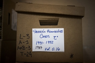 caja de documentos relativos a la sección homicidios, años 1991-1992.