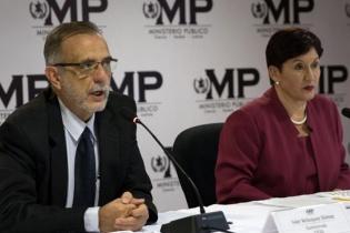 Iván Velásquez, jefe de la Comisión Internacional Contra la Impunidad en Guatemala (CICIG), y la Fiscal General y jefa del Ministerio Público (MP), Thelma Aldana, ofrecieron una conferencia de prensa para informar sobre la detención de Baldetti y la solicitud de antejuicio contra el presidente Otto Pérez Molina.